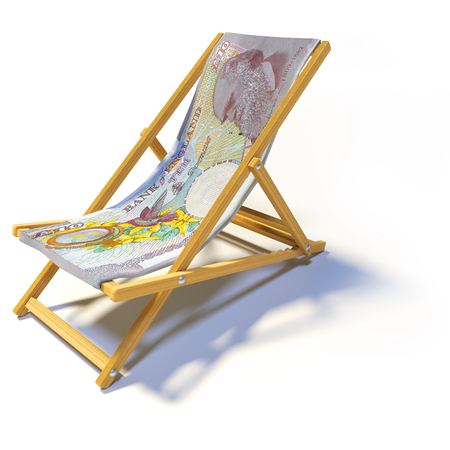 Folding deck chair with 10 english pounds