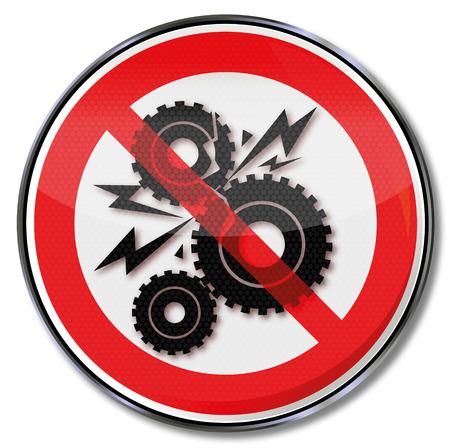 Verbot für Getriebe Crash und Getriebe Illustration