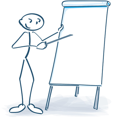 sales meeting: Stick figure with white flip chart Illustration