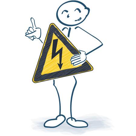 risk analysis: Stick figure with a sign with a flash in front of the body Illustration