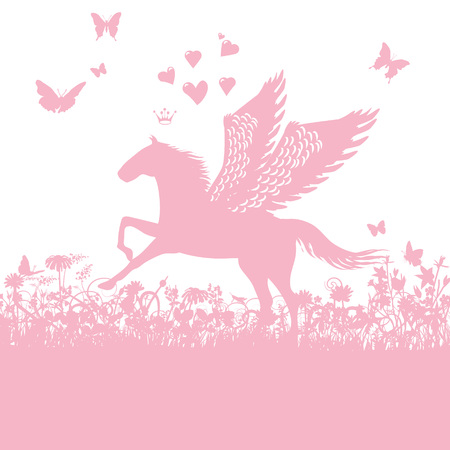 Pegasus with little hearts and love in pink
