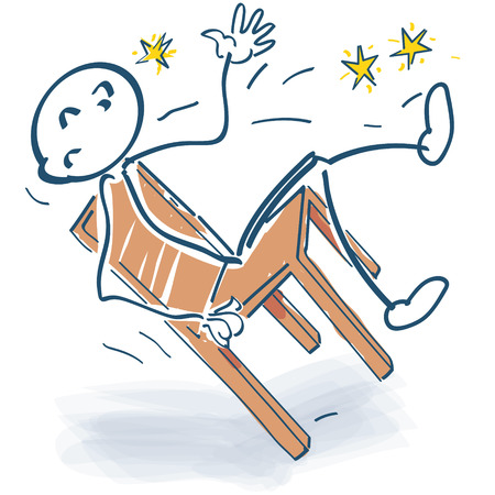 cramping: Stick figure falls suddenly from the chair