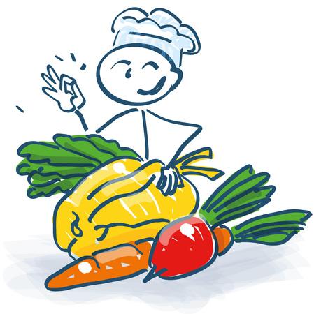 Stick figure as a cook with vegetables Vektorové ilustrace