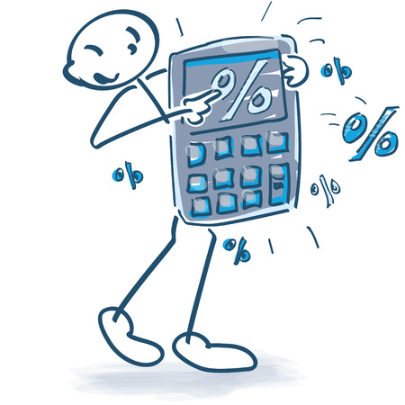 smart goals: Stick figure with a pocket calculator and percentages
