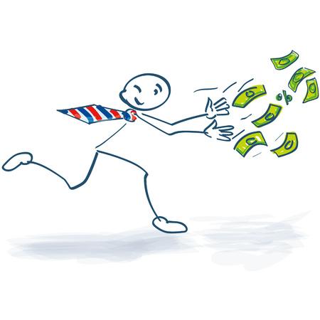 Stick figure running after the money