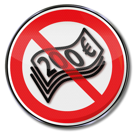 counterfeit: Prohibition sign for 200 euro notes Illustration