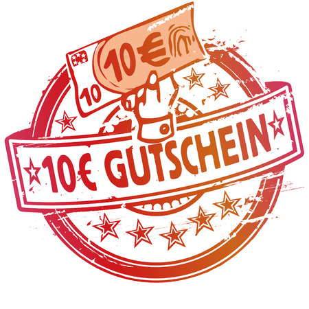 Rubber stamp with voucher over 10 euros Illustration