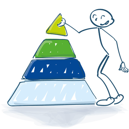 Stick figure with a pyramid of success