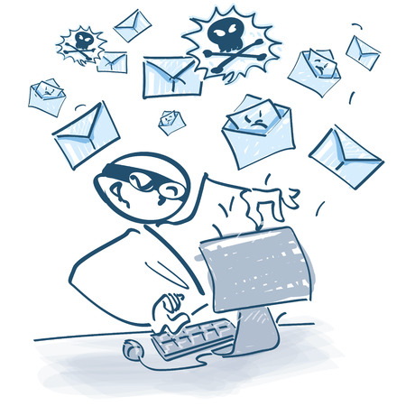 Stick figure at computer shipping spam-mails Illustration