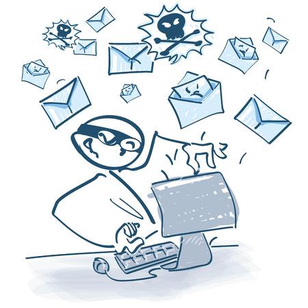 Stokfiguur op computer verzending van spam-mails