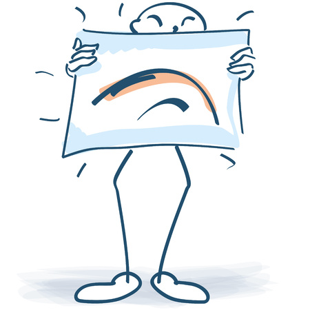 unfavorable: Stick figure with a poster and hanging corners of the mouth