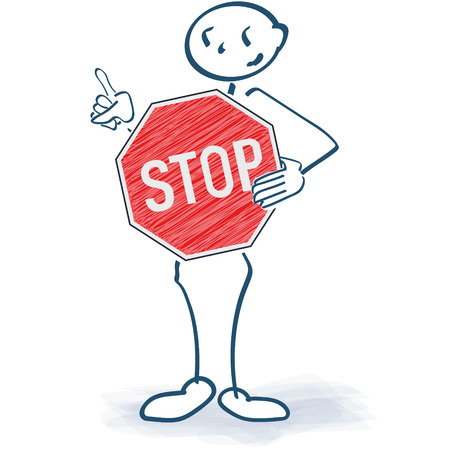 Stick figure with a stop sign in front of the body