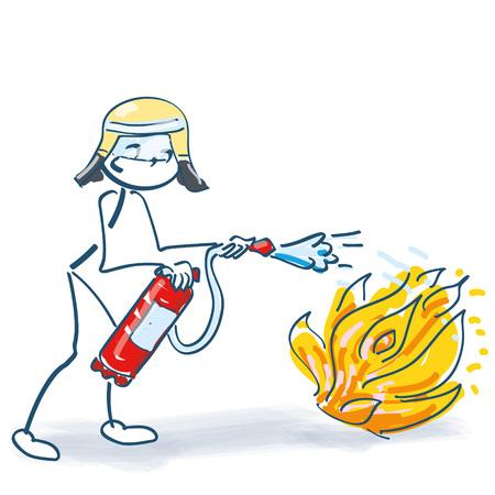 Stick figura come vigile del fuoco con l'estintore durante spegnimento di incendio Vettoriali