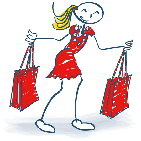 low price: Stick figure with two shopping bags during shopping