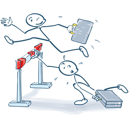 Stick figure jumps better over a hurdle than others Stock Illustratie