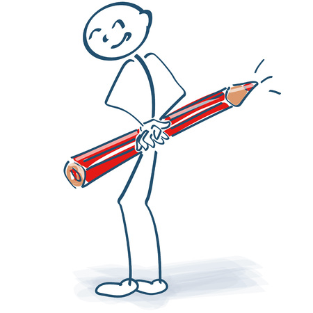 red pencil: Stick figure with red pencil behind the back