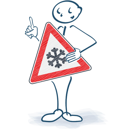 snow tires: Stick figure with a sign of snowflake in front of the body