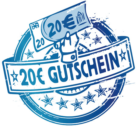 Rubber stamp with voucher over 20 Euro Illustration