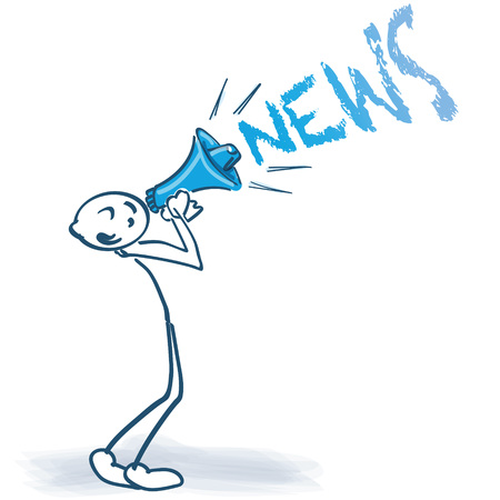 Stick figure with megaphone and news