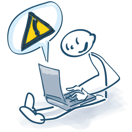 Stick figure with laptop and call sign Illustration