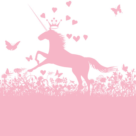 Unicorn with heart and love Illustration