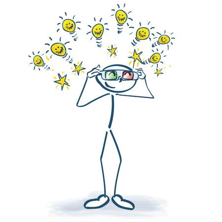 Stick figure con gli occhiali 3D e un sacco di idee