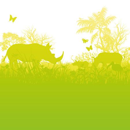 Rhinoceroses in savannah Illustration