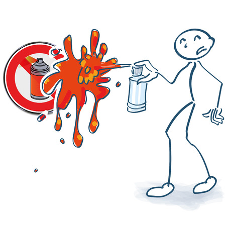 grease paint: Stick figure with spray cans ban Illustration
