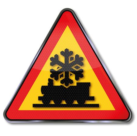 冬の間注意鉄道障害