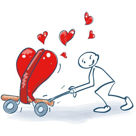 Strichmännchen mit einem Transportwagen voller Herzen