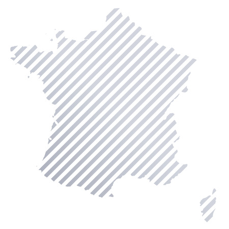 Map of France in grey stripes