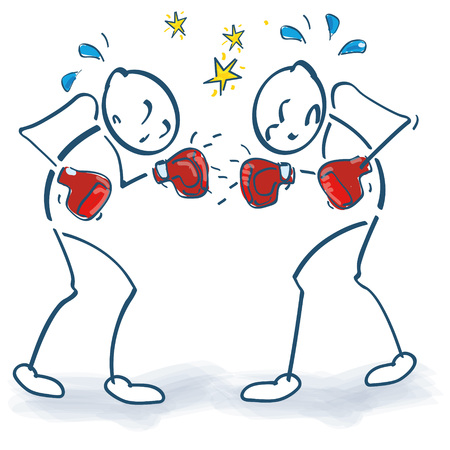 Stick figure as boxer and boxing
