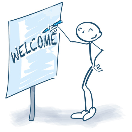 introductions: Stick figure with flip-chart and welcome Illustration
