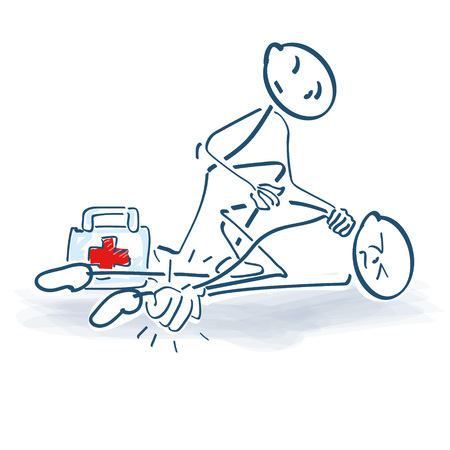 Stick figure with injury and medical help Illustration