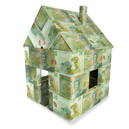 Casa hecha de 20 billetes de dólar de Nueva Zelanda