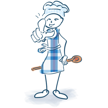 Stick figure as cook with cooking tips Illustration