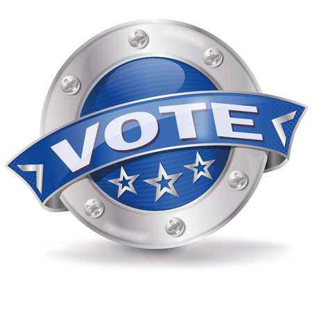suffrage: Button with vote and opinion