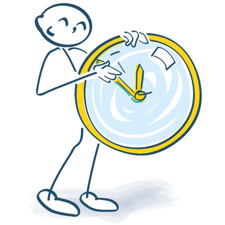 Stick figure turns a clock