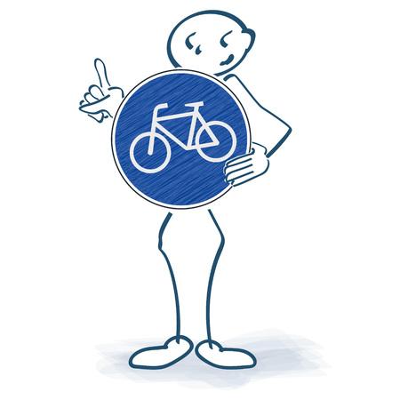 Stick figure ze znakiem roweru przed ciałem Ilustracja