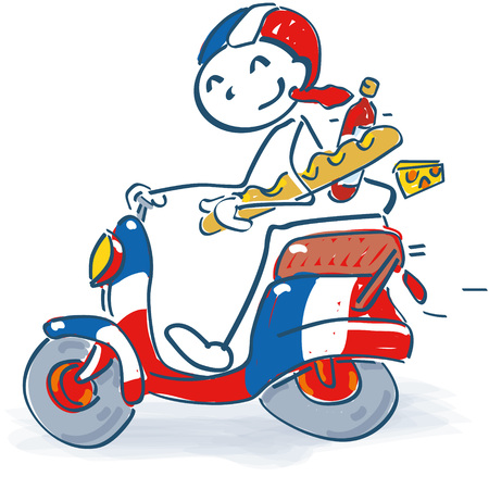 Stick figure with a scooter in France