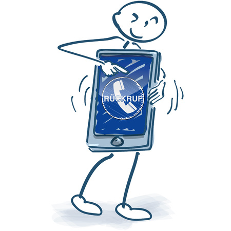 Stick figure with smartphone and call back Illustration