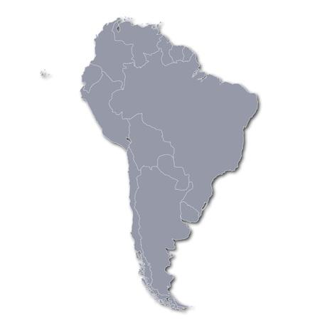 Mapa de América del Sur Foto de archivo - 77826702