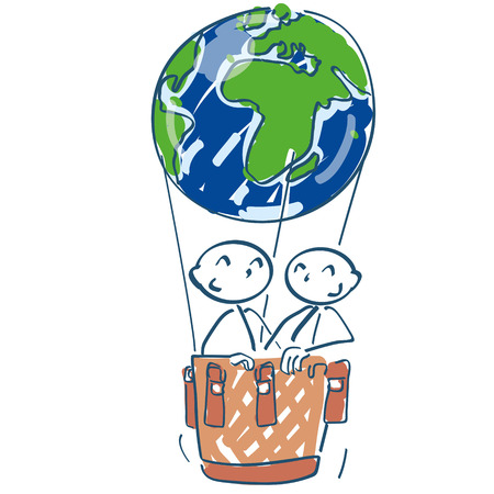 Stick figure in a hot air balloon as a world ball