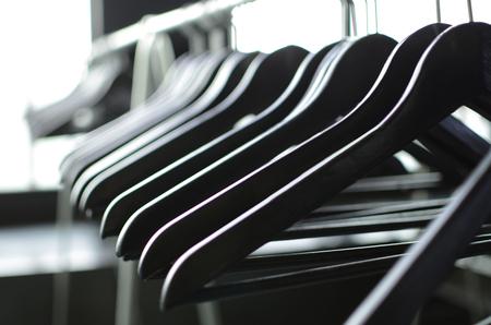 checkroom: Black hangers