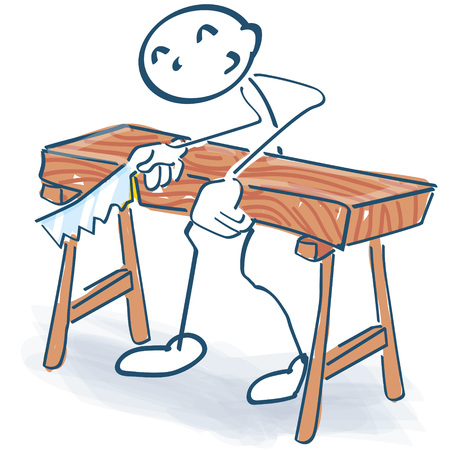 Stick figure as a craftsman sawing a thick bed