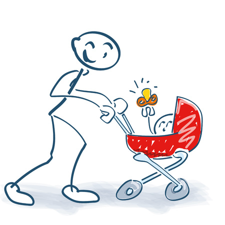 Stick figure with baby carriage and child Illustration
