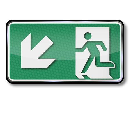 emergency exits: Para señal de escape de incendios y salida de emergencia a la izquierda debajo