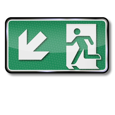 For fire escape sign and emergency exit to the left below Illustration