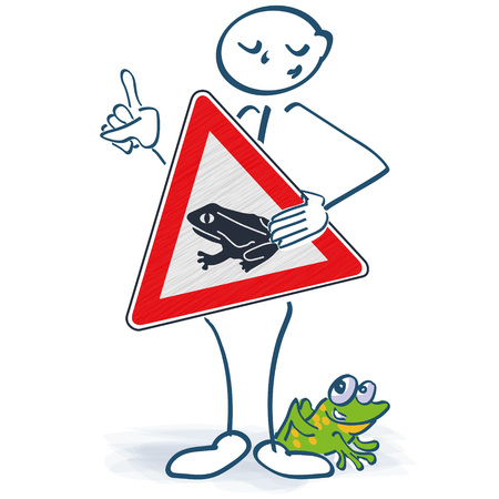 Stick figure with a shield frosting in front of the body and be careful for the frogs