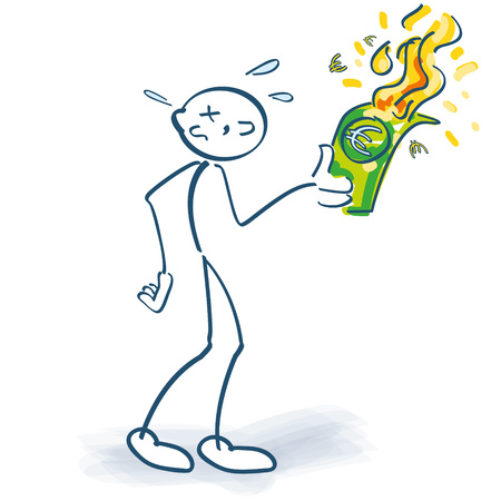 Stick figure burns euros down. Vector illustration.